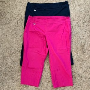 Two pairs Alfani 22W capris (navy and pink)
